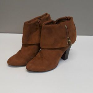Qupid Carmel Fold Over High Heel Ankle Boots